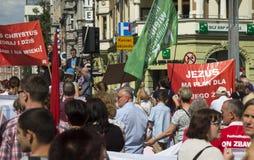 Gliwice, Polen, 11 Juni, 2017: Maart voor het leven en familie, maart voor Jesus door de straten van Gliwice Royalty-vrije Stock Fotografie