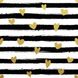 Gllitter gold striped wallpaper. Paint brush strokes background. stock illustration