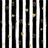 Gllitter gold striped wallpaper. Paint brush strokes background. Stock Images