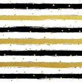 Gllitter gold striped wallpaper. Paint brush strokes background. Stock Image