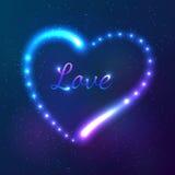 Glänsande kosmisk neonhjärta med teckenförälskelse Royaltyfri Foto