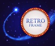 Glänsande retro ram med den fallande stjärnan Nattblått Royaltyfri Bild