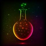 Glänzende Regenbogenflasche mit magischen Lichtern Stockbild