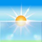 Glänzender Hintergrund des Vektorsommers mit Sonne Lizenzfreies Stockfoto
