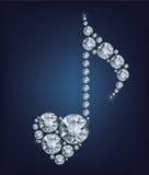 Glänzendes Diamond Music Note-Symbol mit Herzen machte viele Diamanten Stockbild