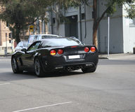 Glänzendes u. schwarzes Sport-Auto Stockfoto