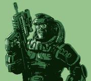 Gloatingly le soldaten i dräkt med ett gevär också vektor för coreldrawillustration Arkivbild