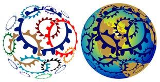 Glob колес шестерни иллюстрация вектора