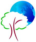 Glob ed albero illustrazione vettoriale