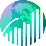 Glob with graph. Illustrated image Stock Photos