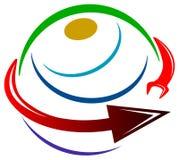 Glob logo. Illustrated isolated worldwide industrial logo design Royalty Free Stock Image