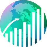 Glob met grafiek royalty-vrije illustratie