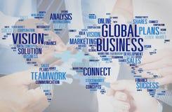 Globaal bedrijfs en groepswerkconcept stock fotografie