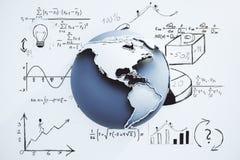Globaal bedrijfsconcept met bol en bedrijfsregeling Stock Fotografie