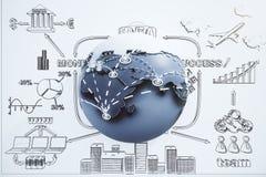 Globaal bedrijfsconcept met bol en getrokken het plan Stock Foto's