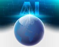 Globaal bigdatainformatienetwerk van de wereldwolk met AI Brief Di royalty-vrije illustratie