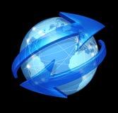 Globaal communicatie concept op zwarte