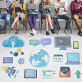 Globaal Communicatie Sociaal Media Voorzien van een netwerkconcept Royalty-vrije Stock Afbeeldingen