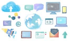 Globaal Communicatie Sociaal Media Voorzien van een netwerkconcept Stock Foto