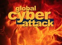 Globaal Cyber-Aanvalsconcept, globale bescherming Stock Afbeelding