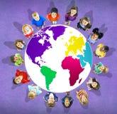 Globaal de Kaart Milieubehoud Conce van de Globaliseringswereld Stock Fotografie