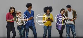 Globaal Digitaal Modern Verbindingsconcept Wereldwijd stock foto