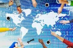 Globaal Eenheid het Sociale Verzamelen zich Communautair Concept wereldwijd Stock Foto's