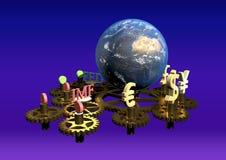 Globaal financiënconcept, globale bedrijfsachtergrond, financiële collage, financieel concept, financiële markten royalty-vrije illustratie