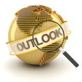 Globaal financieel vooruitzichtensymbool met 3d bol, Stock Foto's