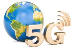 Globaal 5G concept, het 3D teruggeven Stock Afbeelding