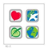 GLOBAAL: Het pictogram plaatste 02 - Versie 2 Stock Foto