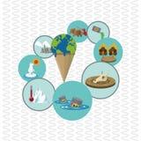 Globaal het verwarmen ontwerp Milieupictogram Het concept van de ecologie Stock Foto's