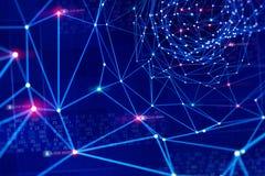 Globaal informatienetwerk Bescherming en opslag van digitale gegevens die de blockchaintechnologie gebruiken Gebaseerde kunstmati royalty-vrije stock afbeeldingen