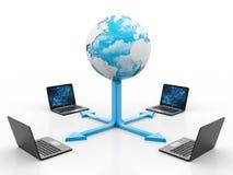 Globaal Internet-Communicatie die Concept, Computer aan server wordt aangesloten het 3d teruggeven Vector Illustratie