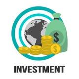 Globaal Investerings Vectorontwerp met Bol, Gouden Muntstukken en Geld Royalty-vrije Stock Fotografie