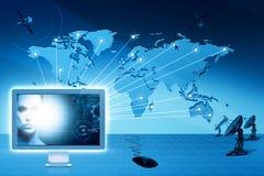 Globaal mededelingen en Internet. stock illustratie