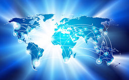 Globaal netwerkaansluting concept Stock Afbeelding