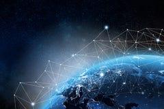 Globaal netwerkconcept 3D teruggevende elementen van dit die beeld door NASA wordt geleverd vector illustratie