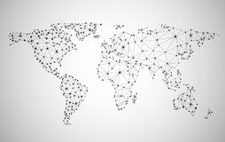 Globaal netwerknetwerk Aarde Map Royalty-vrije Stock Foto's