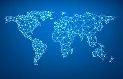 Globaal netwerknetwerk Aarde Map Royalty-vrije Stock Fotografie