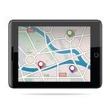 Globaal Plaatsend Systeem, navigatie Gps navigatorpictogram Vector illustratie Stock Afbeeldingen