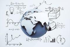 Globaal startconcept met bol en getrokken het plan Stock Foto