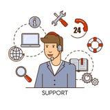 Globaal technische ondersteuning vectorconceptontwerp met de exploitant van de mensensteun Overzichts vlakke illustratie Stock Afbeeldingen