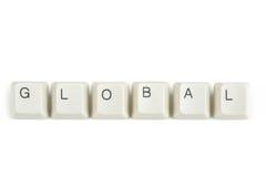 Globaal van verspreide toetsenbordsleutels op wit Stock Afbeelding