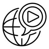 Globaal videoblogpictogram, overzichtsstijl royalty-vrije illustratie
