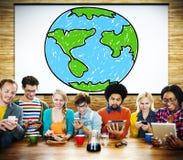 Globaal Voorzien van een netwerk Communicatie Economieconcept Wereldwijd Stock Afbeelding