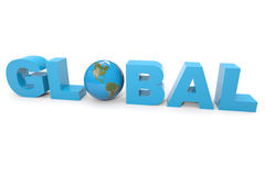 GLOBAL 3d text.  Earth globe replacing letter O. Royalty Free Stock Photography