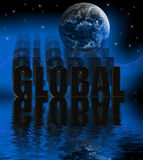 Global 3D with water reflection. Global Illustration 3-D Globe with Night Sky and Stars Stock Photos