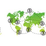 Global Abstract Bitcoin Crypto Currency Blockchain Technology World Map Background Illustration. Green world map and bitcoin icon. Bitcoin remittance. Abstract Stock Photo