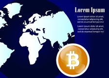 Global Abstract Bitcoin Crypto Currency Technology World Map Stock Photos